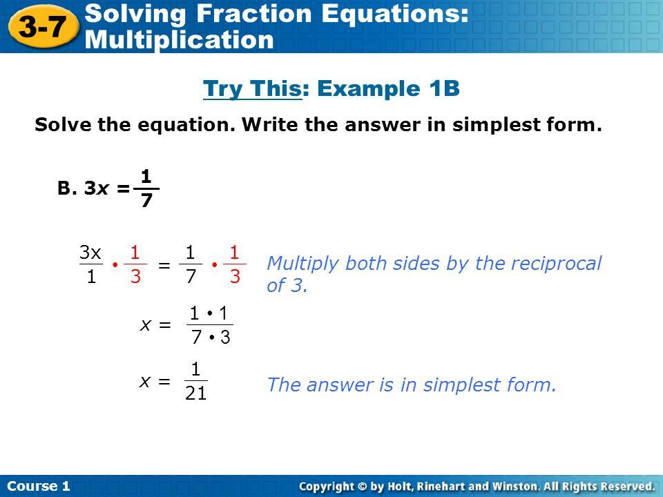 math worksheet : 3 7 solving fraction equations multiplication course 1 warm up  : Solving Fractional Equations Worksheet