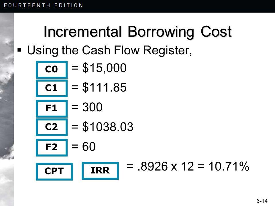 6-14 Incremental Borrowing Cost Using the Cash Flow Register, = $15,000 = $111.85 = 300 = $1038.03 = 60 =.8926 x 12 = 10.71% C0 CPT C1 F1 C2 F2 IRR
