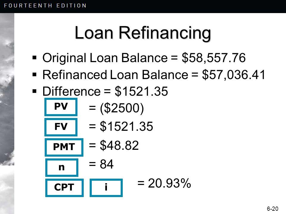 6-20 Loan Refinancing Original Loan Balance = $58,557.76 Refinanced Loan Balance = $57,036.41 Difference = $1521.35 = ($2500) = $1521.35 = $48.82 = 84