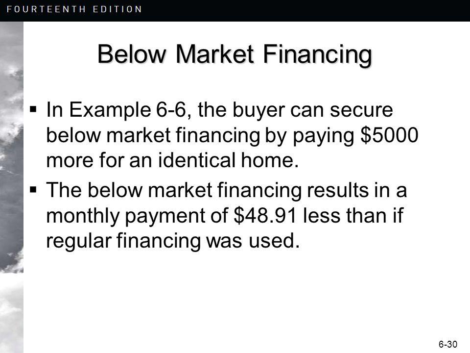 6-30 Below Market Financing In Example 6-6, the buyer can secure below market financing by paying $5000 more for an identical home. The below market f