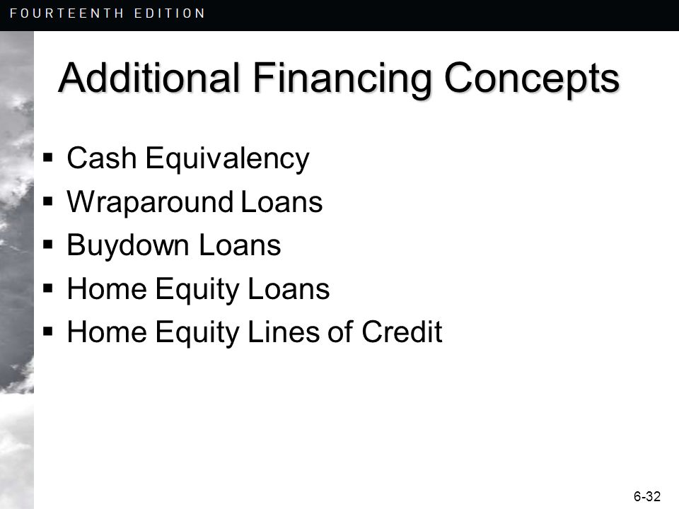 6-32 Additional Financing Concepts Cash Equivalency Wraparound Loans Buydown Loans Home Equity Loans Home Equity Lines of Credit