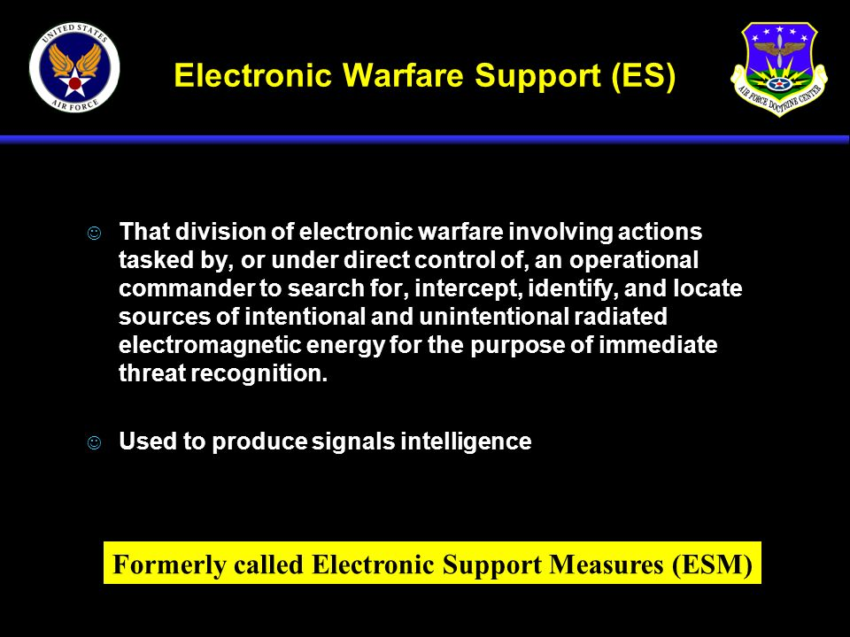 Electronic Warfare Support (ES) J That division of electronic warfare involving actions tasked by, or under direct control of, an operational commande