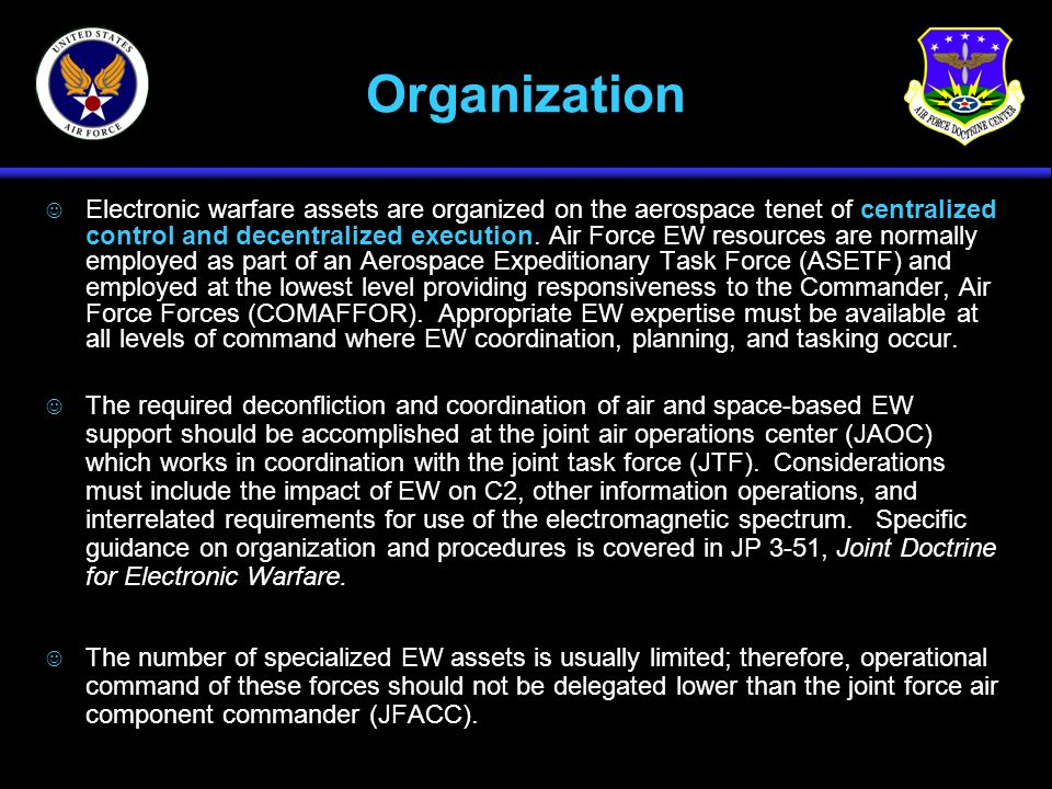 Organization J Electronic warfare assets are organized on the aerospace tenet of centralized control and decentralized execution. Air Force EW resourc