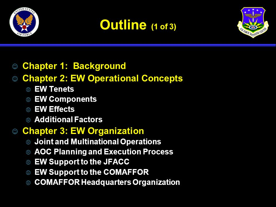 Outline (1 of 3) J Chapter 1: Background J Chapter 2: EW Operational Concepts K EW Tenets K EW Components K EW Effects K Additional Factors J Chapter