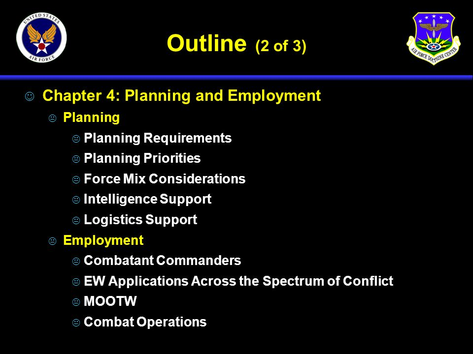 Outline (2 of 3) J Chapter 4: Planning and Employment K Planning K Planning Requirements K Planning Priorities K Force Mix Considerations K Intelligen