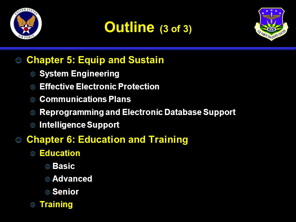 Outline (3 of 3) J Chapter 5: Equip and Sustain K System Engineering K Effective Electronic Protection K Communications Plans K Reprogramming and Elec