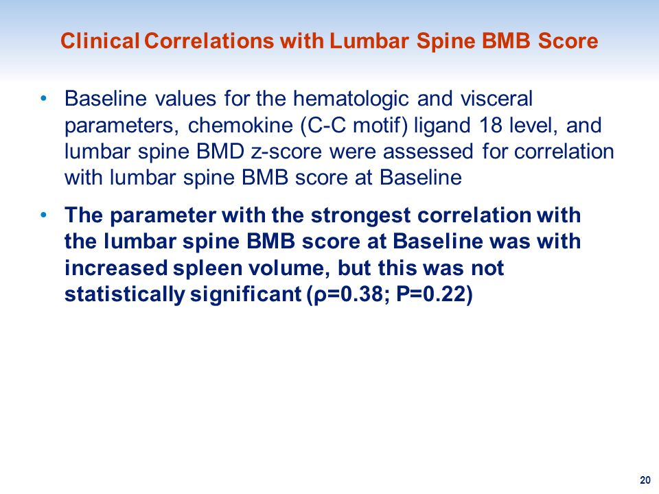 Clinical Correlations with Lumbar Spine BMB Score Baseline values for the hematologic and visceral parameters, chemokine (C-C motif) ligand 18 level,