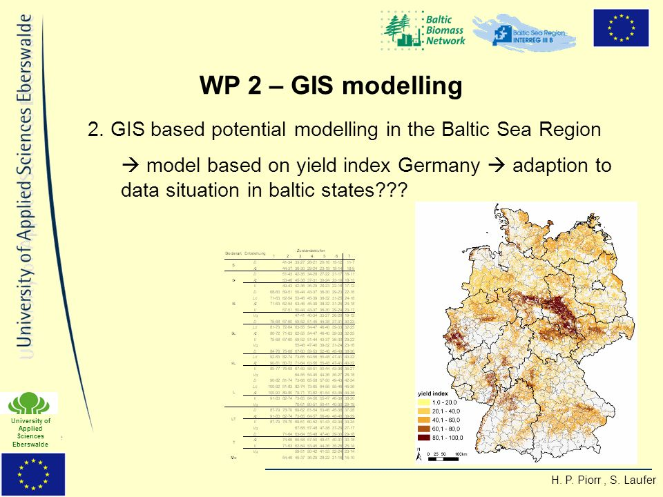 H. P. Piorr, S. Laufer University of Applied Sciences Eberswalde 2. GIS based potential modelling in the Baltic Sea Region model based on yield index
