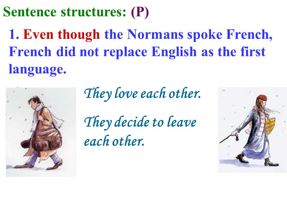 1. Even though the Normans spoke French, French did not replace English as the first language. They love each other. They decide to leave each other.
