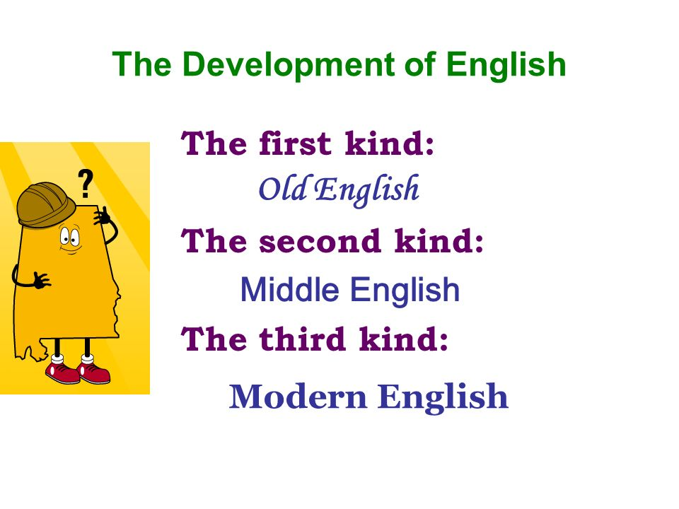 The first kind: The second kind: The third kind: The Development of English Old English Middle English Modern English