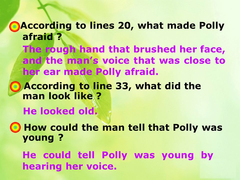 4 According to lines 20, what made Polly afraid . 5.