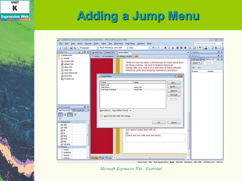 Adding a Jump Menu Microsoft Expression Web - Illustrated