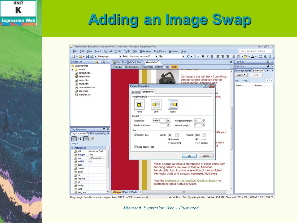 Adding an Image Swap Microsoft Expression Web - Illustrated