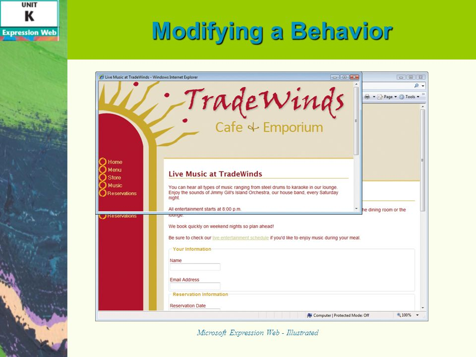 Modifying a Behavior Microsoft Expression Web - Illustrated