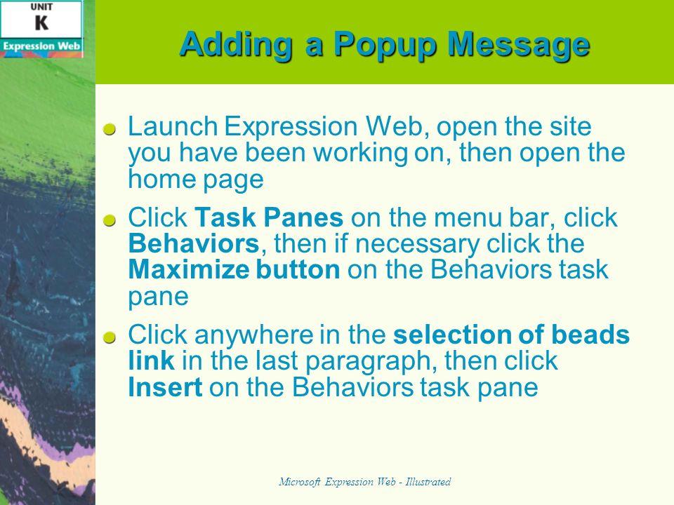 Adding a Jump Menu Microsoft Expression Web - Illustrated