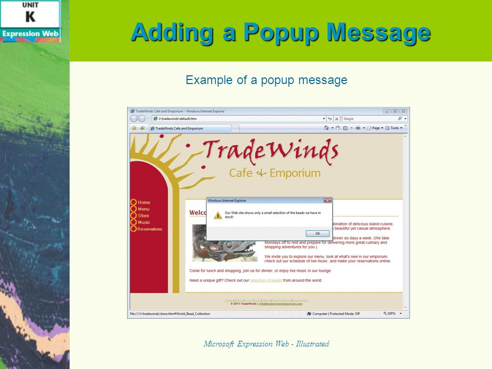 Adding a Popup Message Microsoft Expression Web - Illustrated Example of a popup message