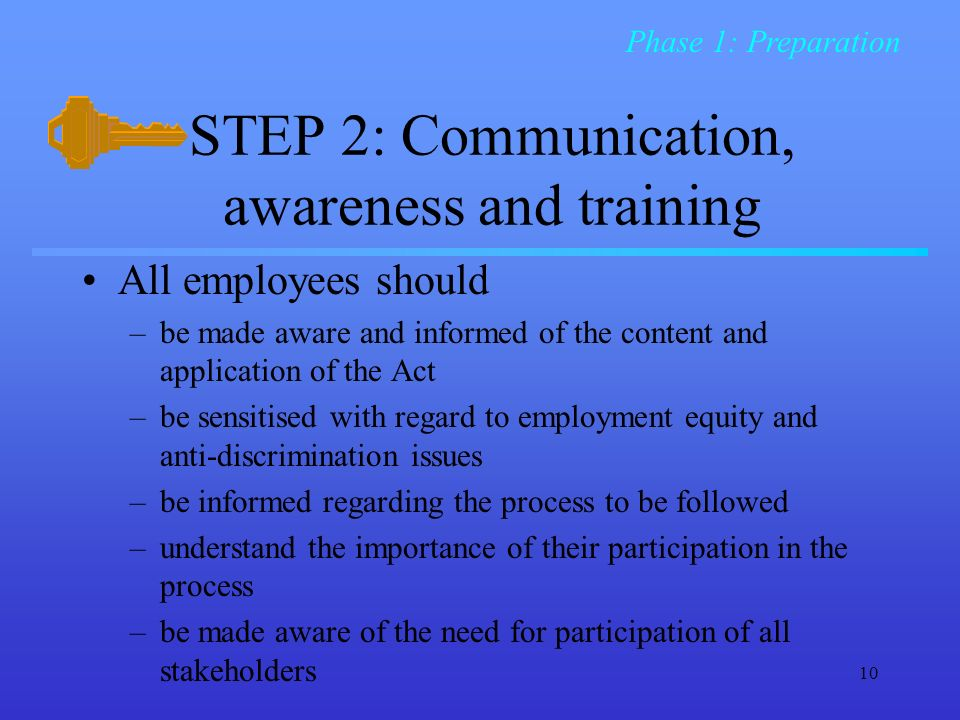 10 STEP 2: Communication, awareness and training All employees should –be made aware and informed of the content and application of the Act –be sensitised with regard to employment equity and anti-discrimination issues –be informed regarding the process to be followed –understand the importance of their participation in the process –be made aware of the need for participation of all stakeholders Phase 1: Preparation