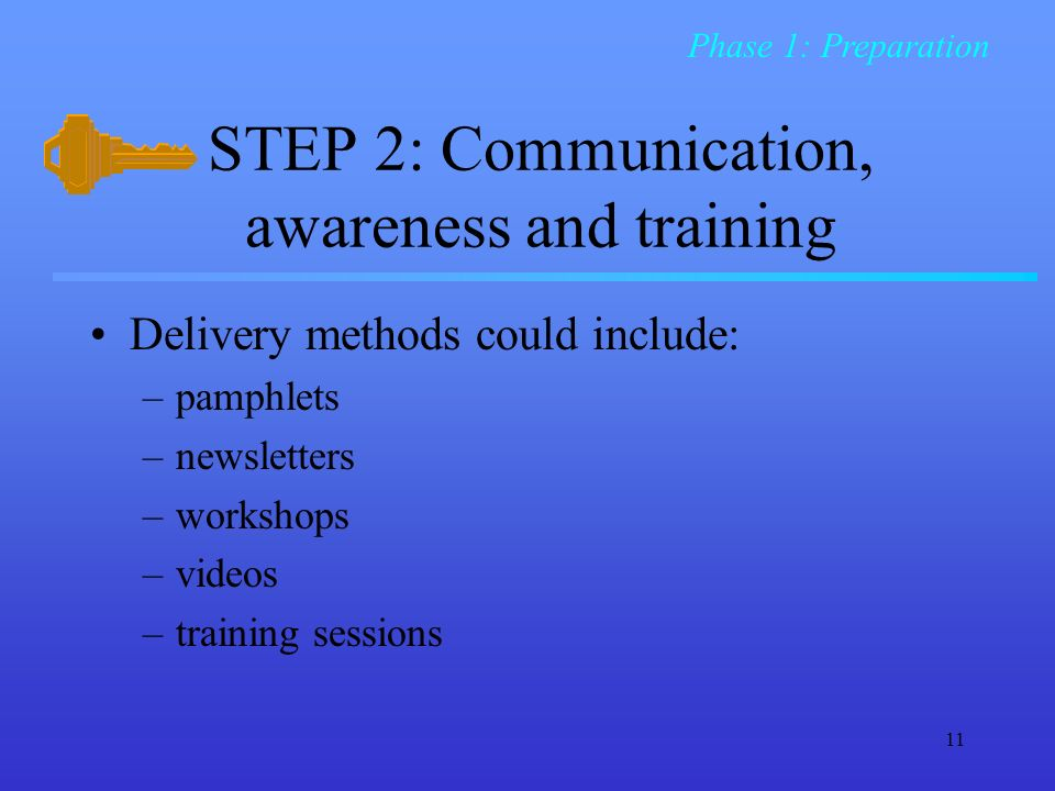 11 STEP 2: Communication, awareness and training Delivery methods could include: –pamphlets –newsletters –workshops –videos –training sessions Phase 1: Preparation