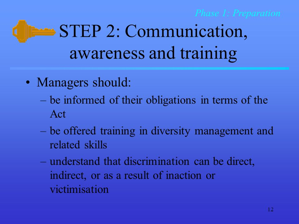 12 STEP 2: Communication, awareness and training Managers should: –be informed of their obligations in terms of the Act –be offered training in diversity management and related skills –understand that discrimination can be direct, indirect, or as a result of inaction or victimisation Phase 1: Preparation