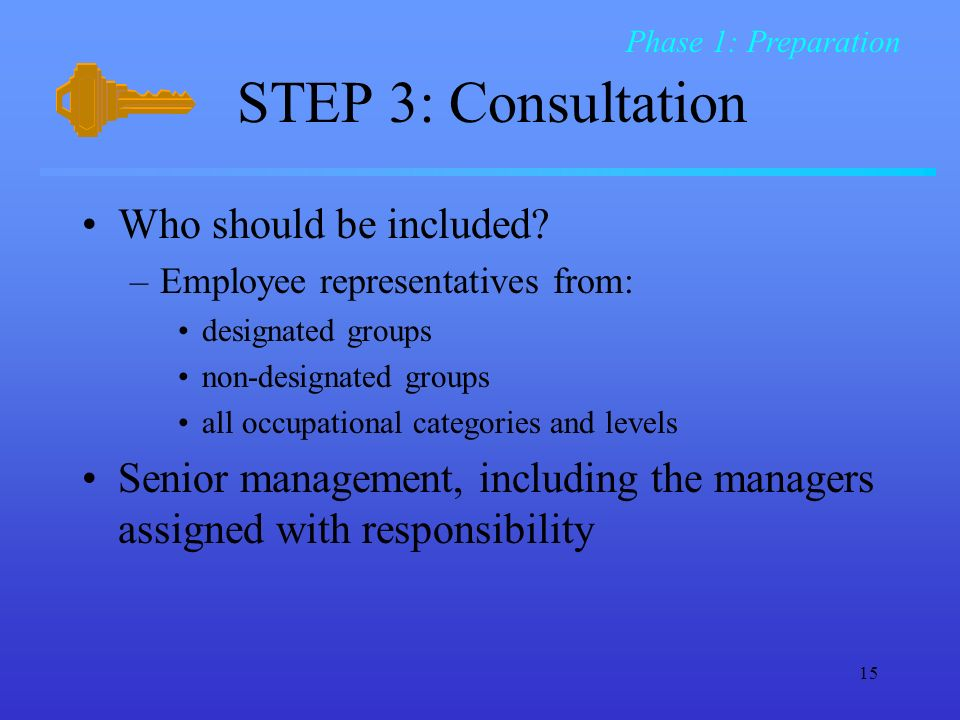 15 STEP 3: Consultation Who should be included.
