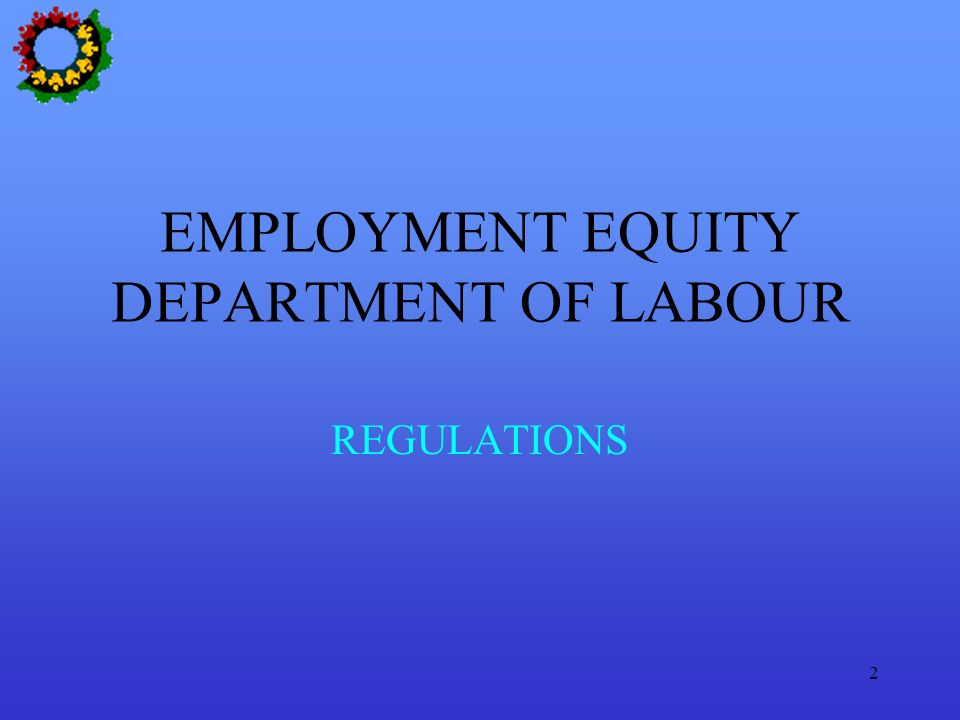 2 EMPLOYMENT EQUITY DEPARTMENT OF LABOUR REGULATIONS