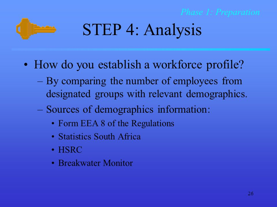 26 STEP 4: Analysis How do you establish a workforce profile.