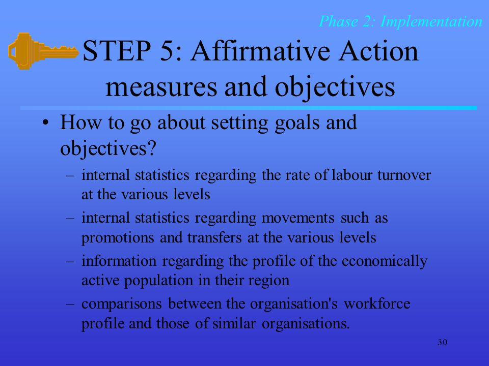 30 STEP 5: Affirmative Action measures and objectives How to go about setting goals and objectives.