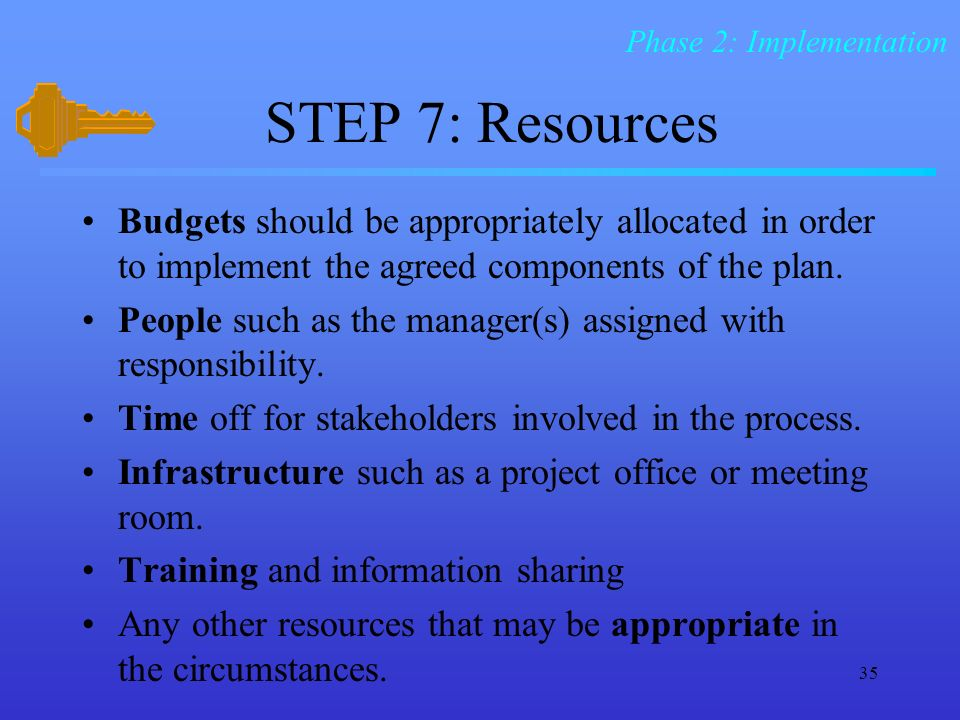 35 STEP 7: Resources Budgets should be appropriately allocated in order to implement the agreed components of the plan.