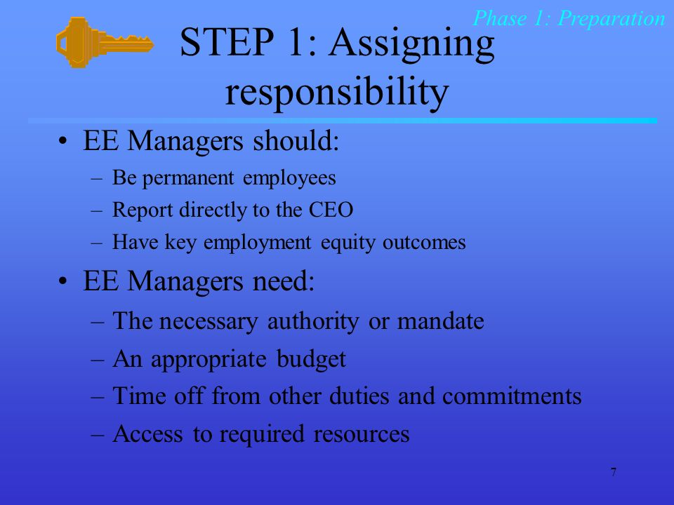 7 STEP 1: Assigning responsibility EE Managers should: –Be permanent employees –Report directly to the CEO –Have key employment equity outcomes EE Managers need: –The necessary authority or mandate –An appropriate budget –Time off from other duties and commitments –Access to required resources Phase 1: Preparation