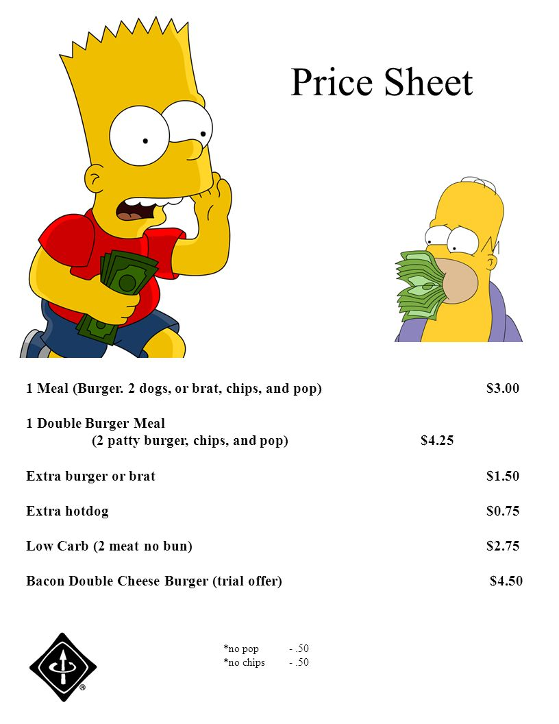 Price Sheet 1 Meal (Burger. 2 dogs, or brat, chips, and pop)$3.00 1 Double Burger Meal (2 patty burger, chips, and pop)$4.25 Extra burger or brat$1.50