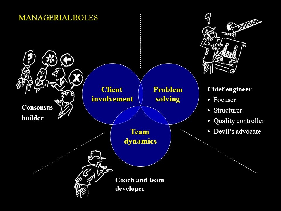 Client involvement Problem solving Team dynamics Consensus builder Chief engineer Focuser Structurer Quality controller Devils advocate Coach and team
