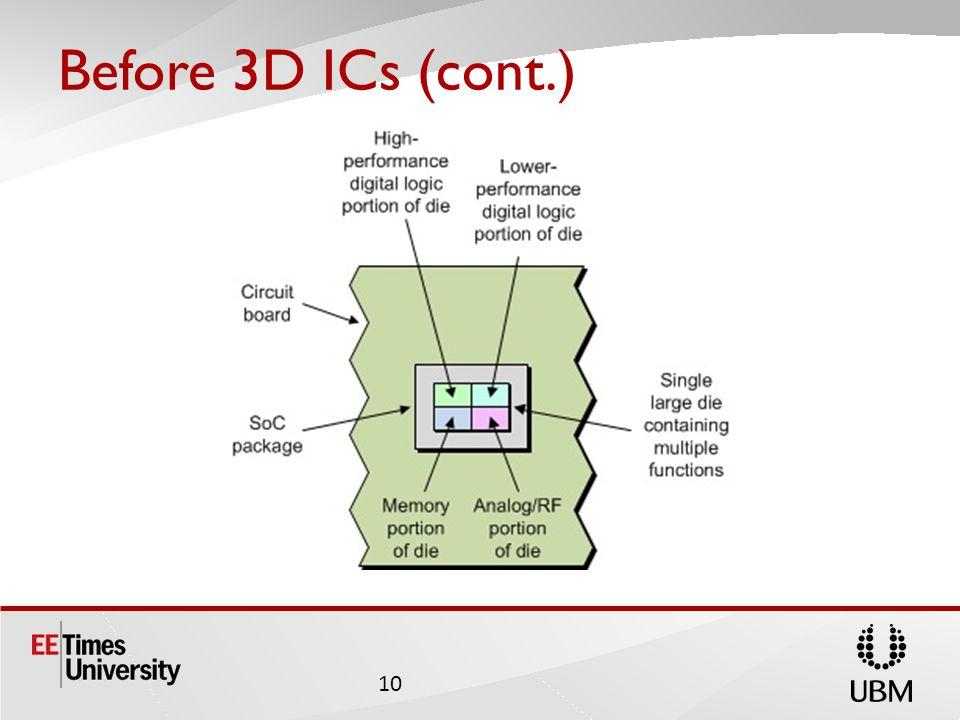 Before 3D ICs (cont.) 10