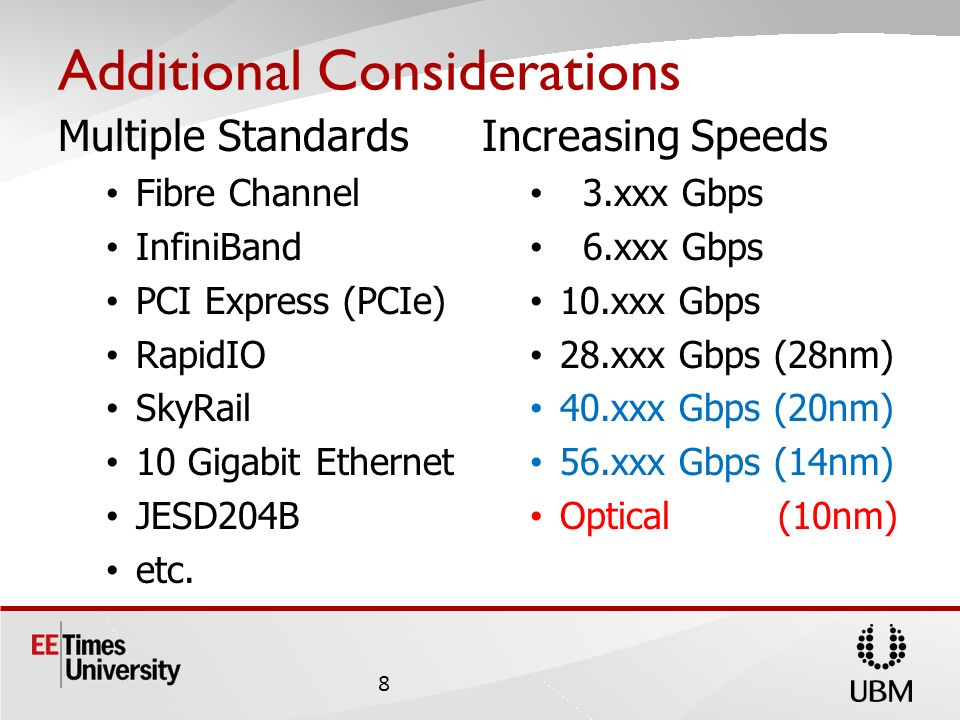 Additional Considerations Multiple Standards Fibre Channel InfiniBand PCI Express (PCIe) RapidIO SkyRail 10 Gigabit Ethernet JESD204B etc.