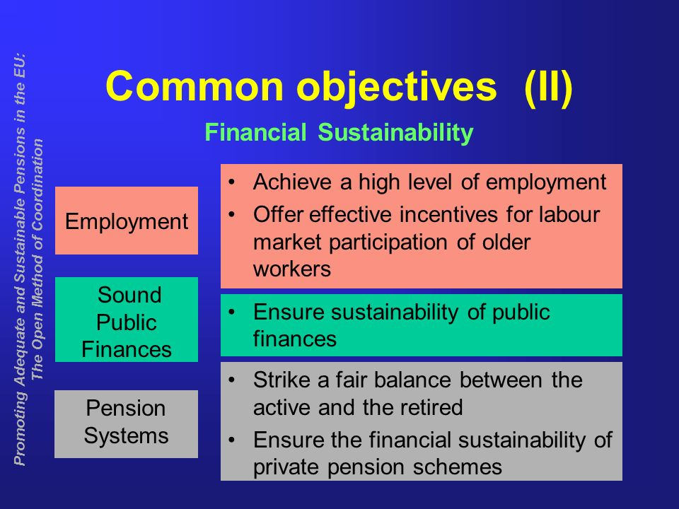 7 Common objectives (II) Financial Sustainability Achieve a high level of employment Offer effective incentives for labour market participation of older workers Employment Sound Public Finances Pension Systems Ensure sustainability of public finances Strike a fair balance between the active and the retired Ensure the financial sustainability of private pension schemes Promoting Adequate and Sustainable Pensions in the EU: The Open Method of Coordination
