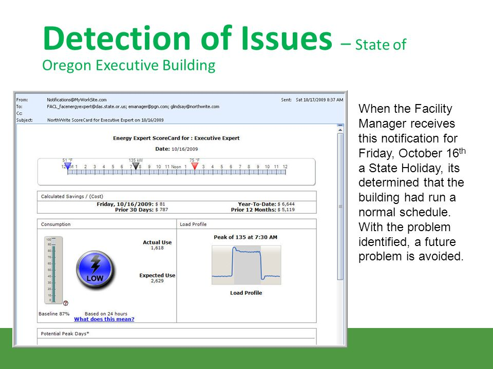 Detection of Issues – State of Oregon Executive Building When the Facility Manager receives this notification for Friday, October 16 th a State Holiday, its determined that the building had run a normal schedule.