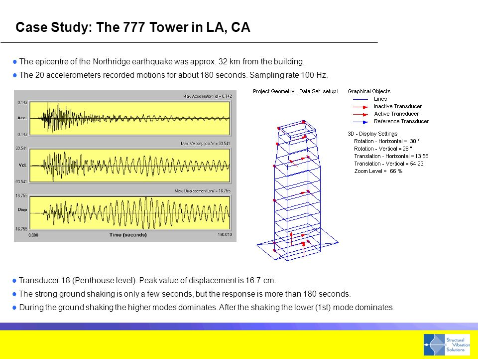 Case Study: The 777 Tower in LA, CA The epicentre of the Northridge earthquake was approx.