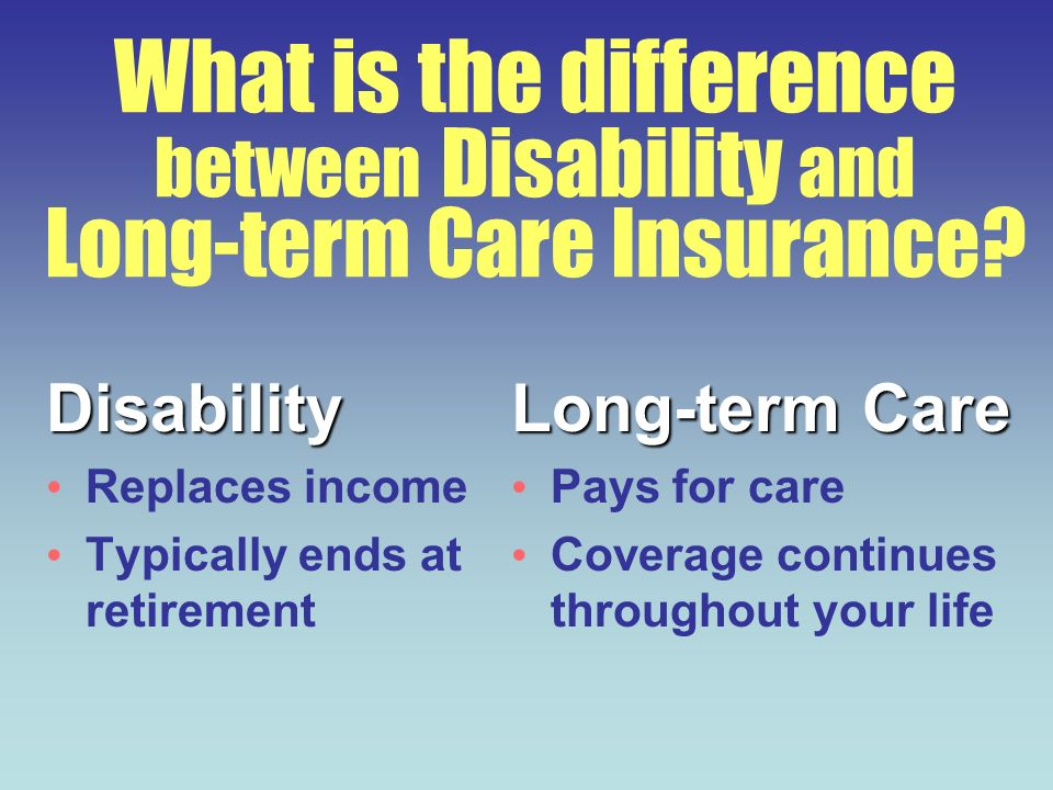 What is the difference between Disability and Long-term Care Insurance? Disability Replaces income Typically ends at retirement Long-term Care Pays fo