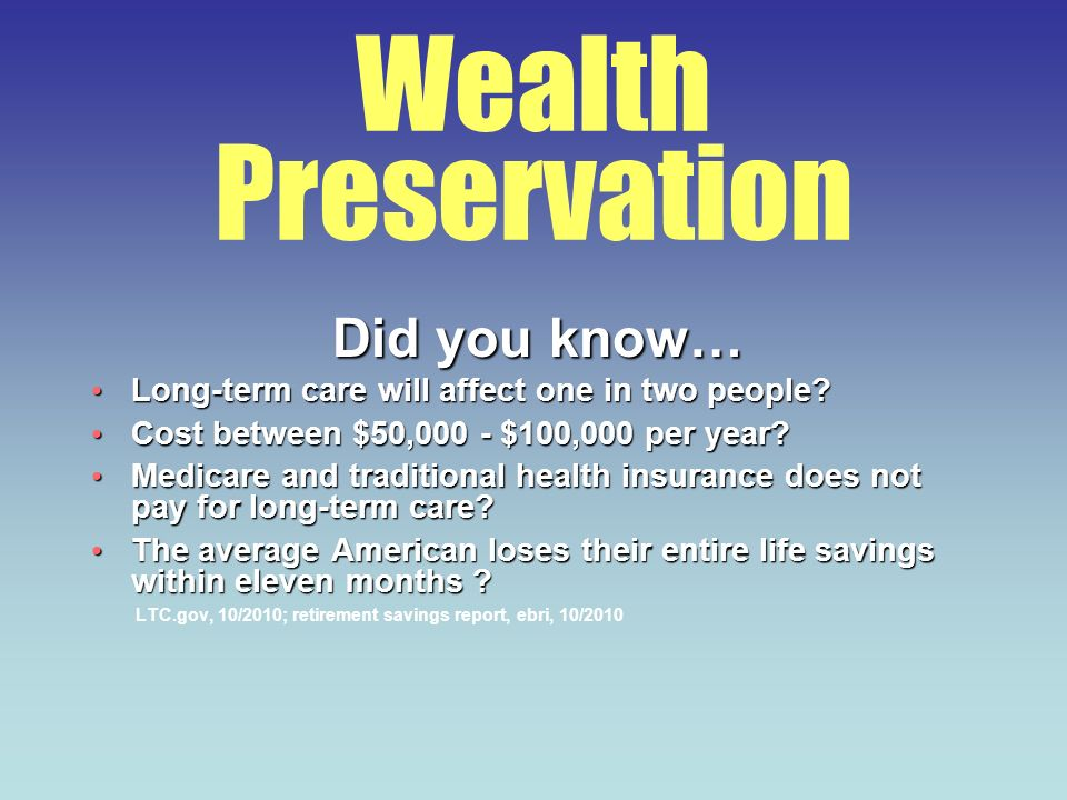 Wealth Preservation Did you know… Long-term care will affect one in two people? Long-term care will affect one in two people? Cost between $50,000 - $