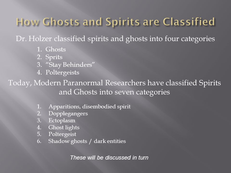 1.Ghosts 2.Sprits 3.Stay Behinders 4.Poltergeists Dr.