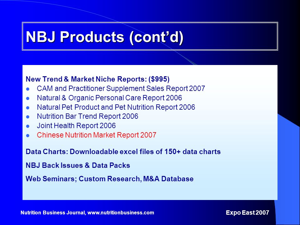 Nutrition Business Journal, www.nutritionbusiness.com NBJ Products (contd) New Trend & Market Niche Reports: ($995) CAM and Practitioner Supplement Sa