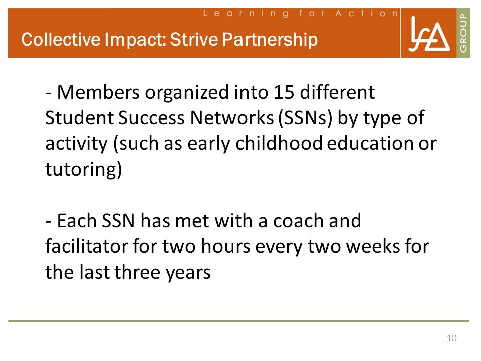 10 Collective Impact: Strive Partnership - Members organized into 15 different Student Success Networks (SSNs) by type of activity (such as early chil