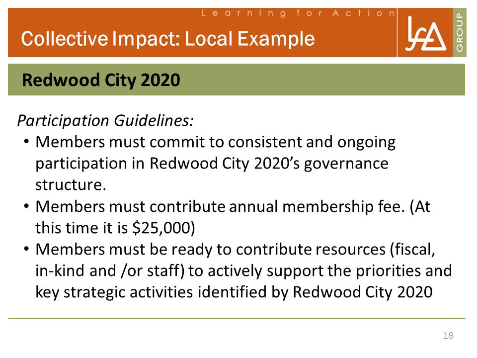 18 Collective Impact: Local Example Redwood City 2020 Participation Guidelines: Members must commit to consistent and ongoing participation in Redwood City 2020s governance structure.