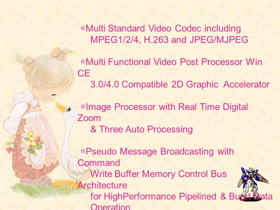Multi Standard Video Codec including MPEG1/2/4, H.263 and JPEG/MJPEG Multi Functional Video Post Processor Win CE 3.0/4.0 Compatible 2D Graphic Accele
