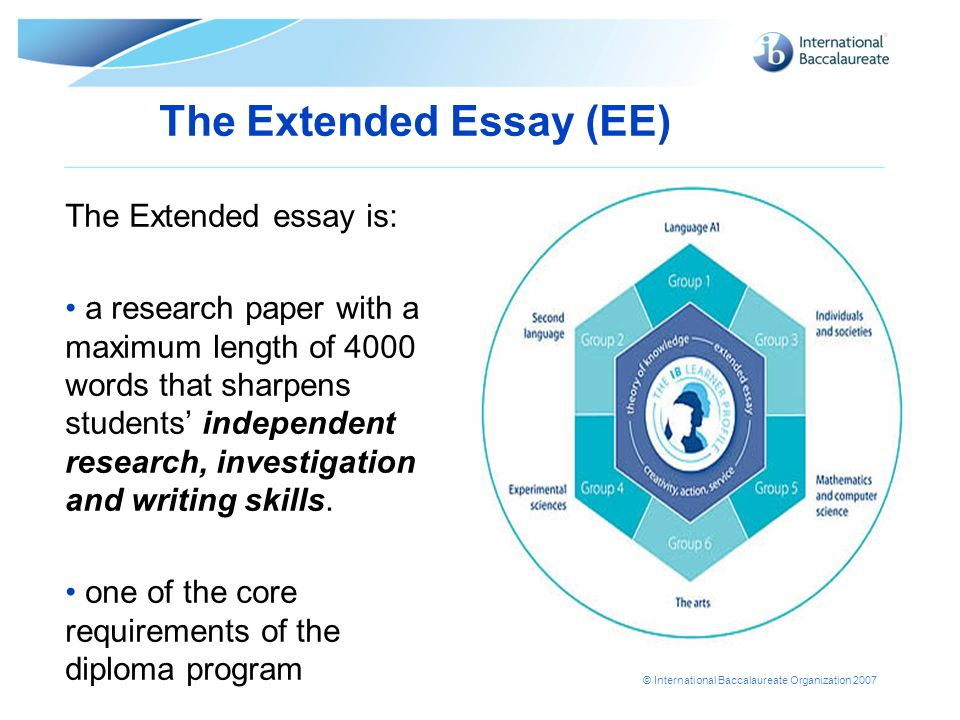 © International Baccalaureate Organization 2007 The Extended Essay (EE) The Extended essay is: a research paper with a maximum length of 4000 words th