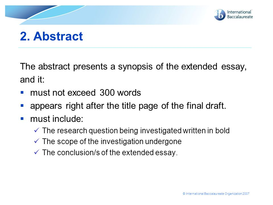ib extended essay sample Extended essay  50 excellent extended essays click on any link below to view an example of an outstanding extended essay.