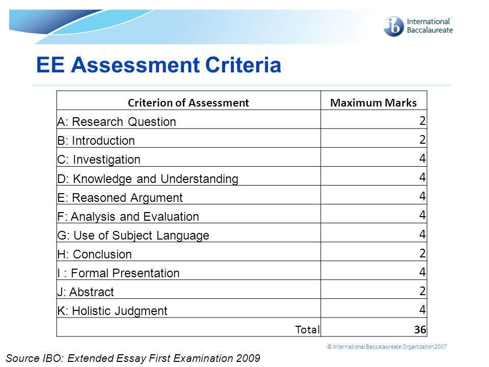 Extended Essay Criteria 2012