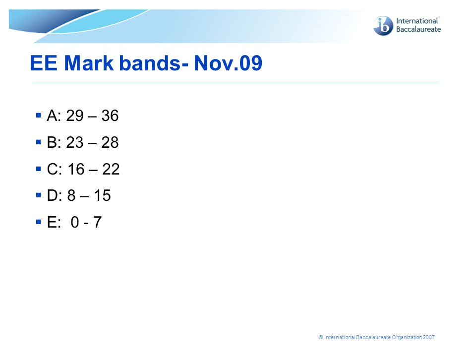 © International Baccalaureate Organization 2007 EE Mark bands- Nov.09 A: 29 – 36 B: 23 – 28 C: 16 – 22 D: 8 – 15 E: 0 - 7