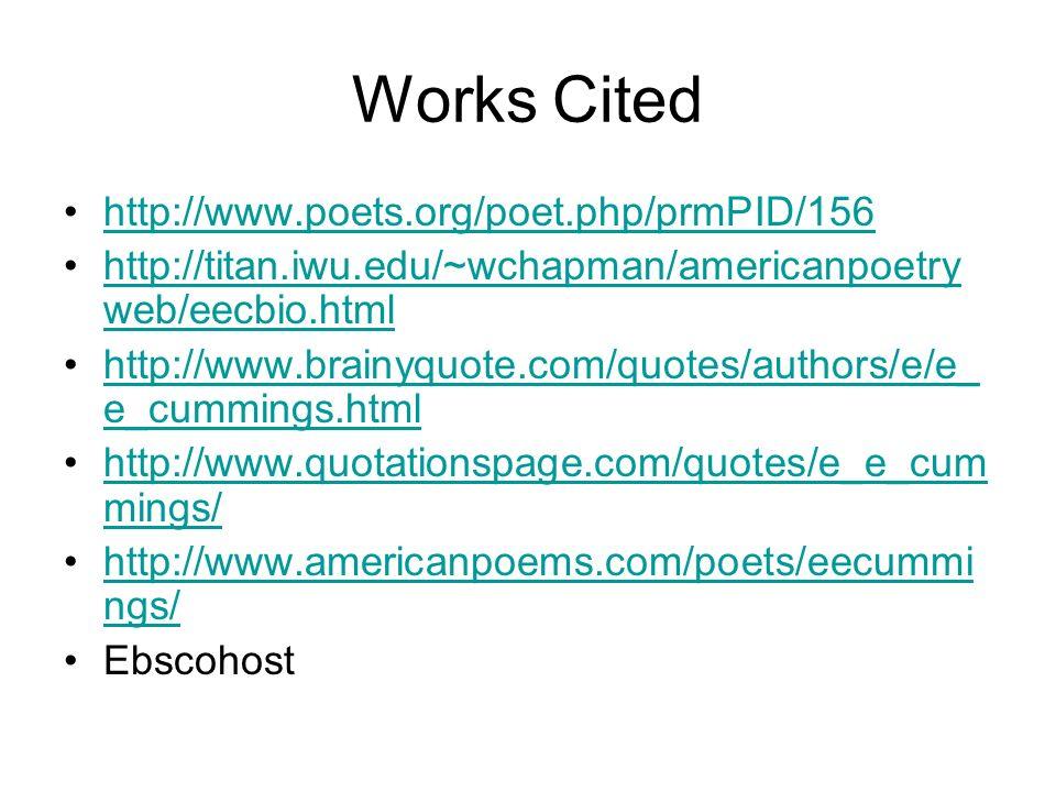 Works Cited http://www.poets.org/poet.php/prmPID/156 http://titan.iwu.edu/~wchapman/americanpoetry web/eecbio.htmlhttp://titan.iwu.edu/~wchapman/ameri