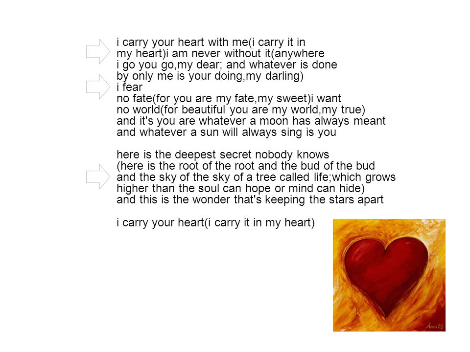 i carry your heart with me(i carry it in my heart)i am never without it(anywhere i go you go,my dear; and whatever is done by only me is your doing,my