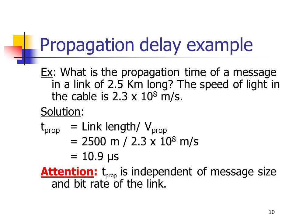10 Propagation delay example Ex: What is the propagation time of a message in a link of 2.5 Km long? The speed of light in the cable is 2.3 x 10 8 m/s